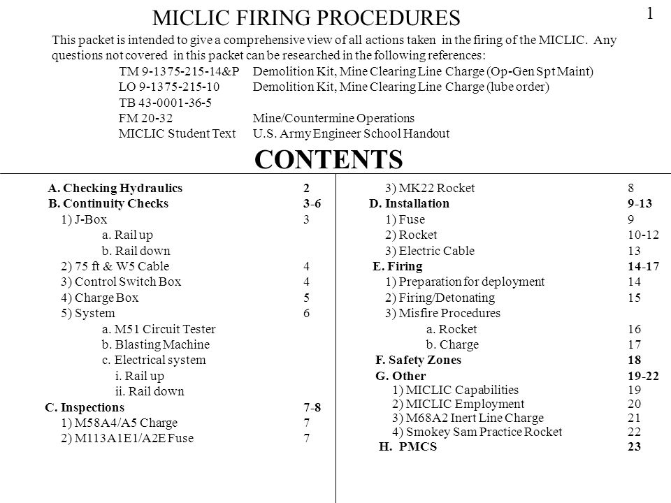 CONTENTS MICLIC FIRING PROCEDURES 1
