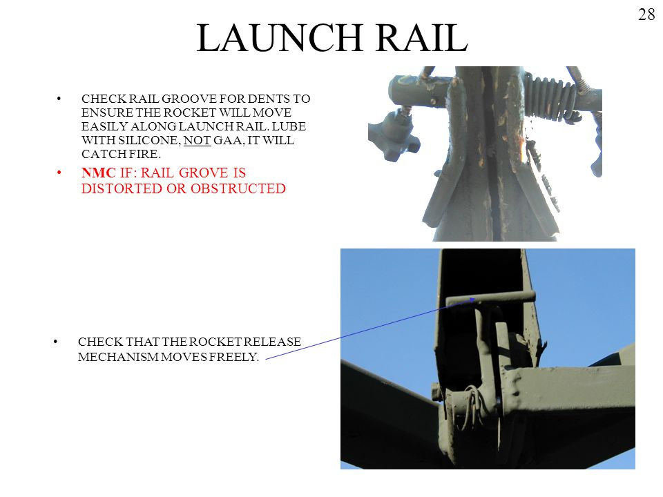 LAUNCH RAIL 28 NMC IF: RAIL GROVE IS DISTORTED OR OBSTRUCTED