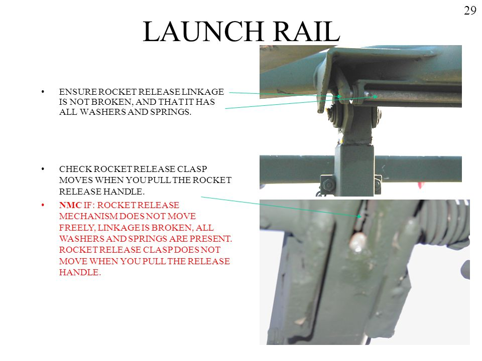 LAUNCH RAIL 29. ENSURE ROCKET RELEASE LINKAGE IS NOT BROKEN, AND THAT IT HAS ALL WASHERS AND SPRINGS.