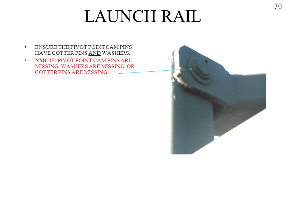LAUNCH RAIL 30. ENSURE THE PIVOT POINT CAM PINS HAVE COTTER PINS AND WASHERS.