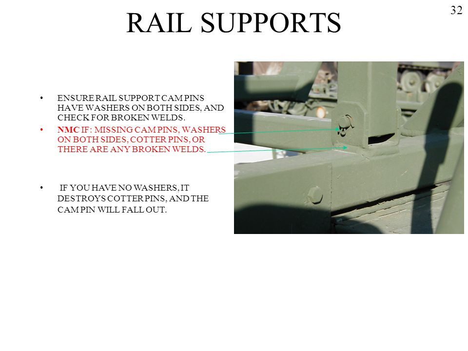 RAIL SUPPORTS 32. ENSURE RAIL SUPPORT CAM PINS HAVE WASHERS ON BOTH SIDES, AND CHECK FOR BROKEN WELDS.
