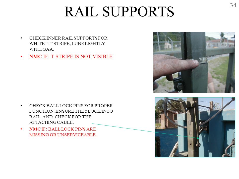 RAIL SUPPORTS 34 NMC IF: T STRIPE IS NOT VISIBLE