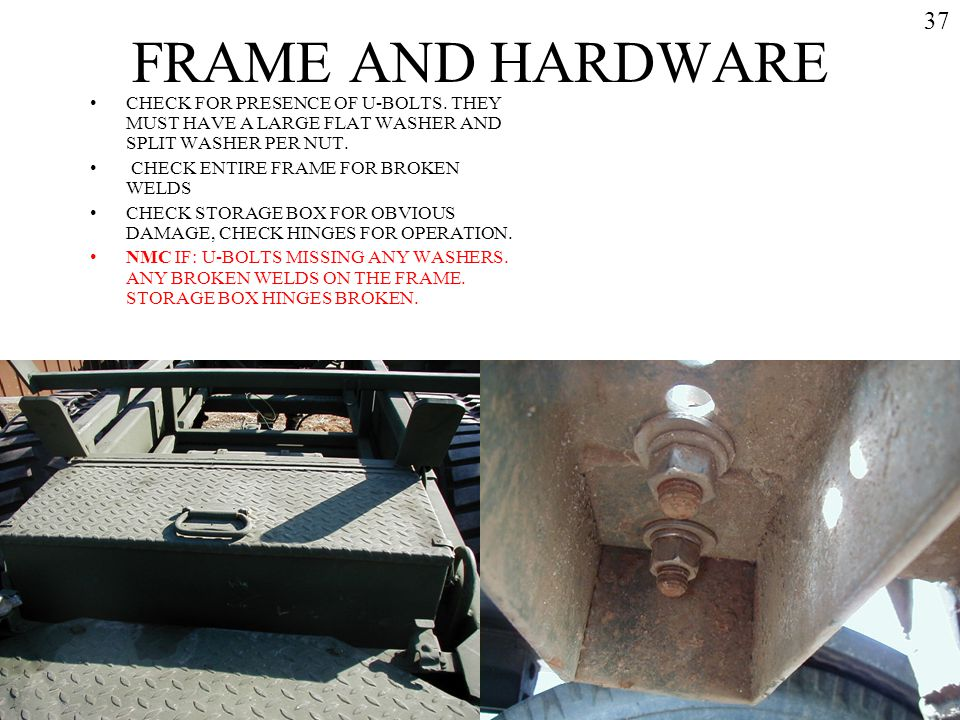 FRAME AND HARDWARE 37. CHECK FOR PRESENCE OF U-BOLTS. THEY MUST HAVE A LARGE FLAT WASHER AND SPLIT WASHER PER NUT.