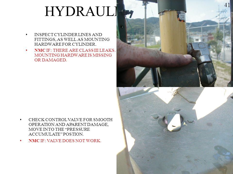 HYDRAULIC SYSTEM 41. INSPECT CYLINDER LINES AND FITTINGS, AS WELL AS MOUNTING HARDWARE FOR CYLINDER.
