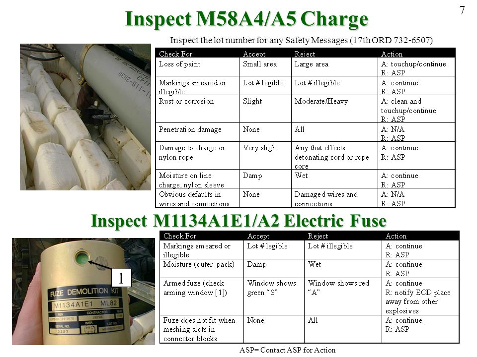 Inspect M58A4/A5 Charge Inspect M1134A1E1/A2 Electric Fuse 1 7