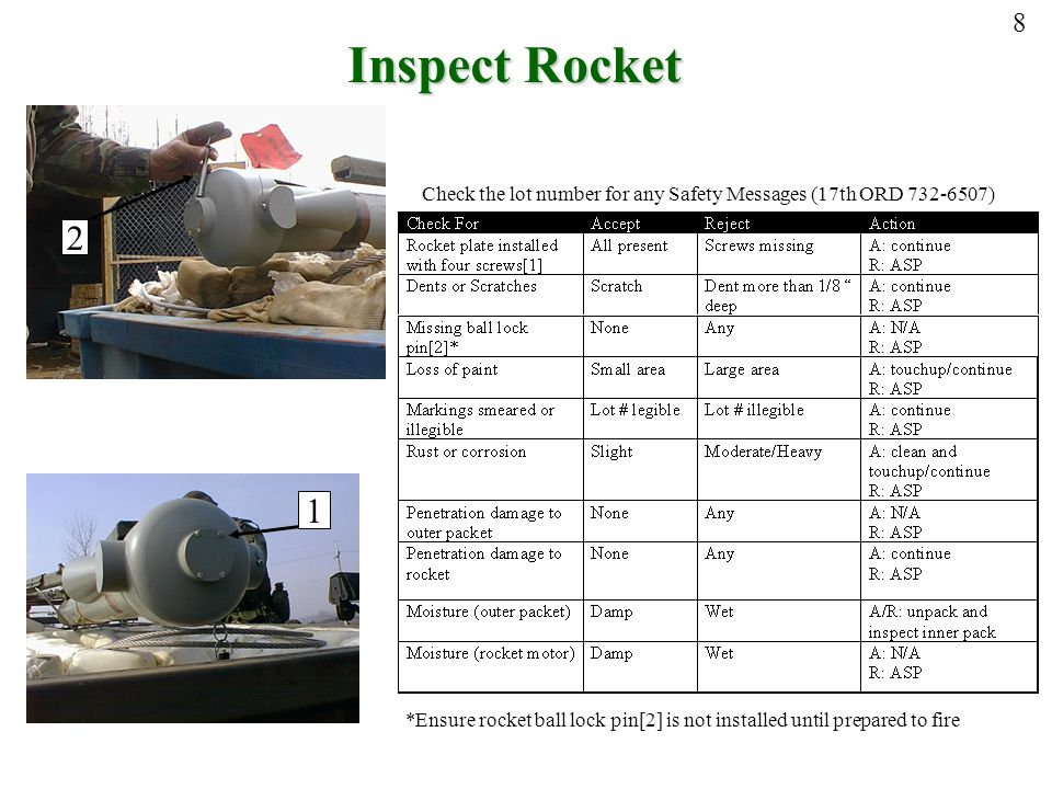 8 Inspect Rocket. Check the lot number for any Safety Messages (17th ORD 732-6507) 2. 1.