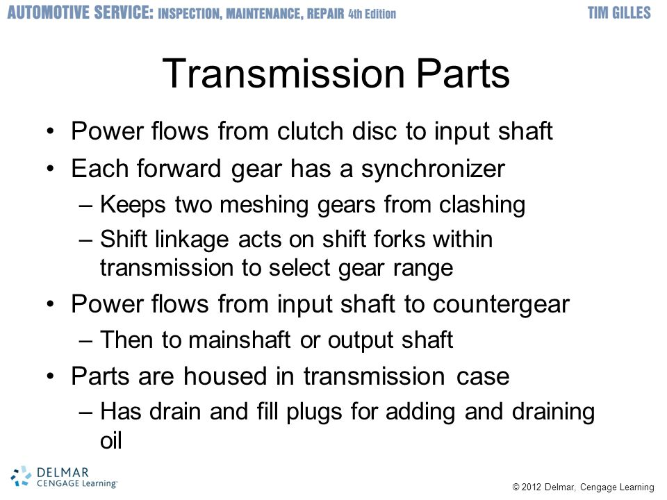 Transmission Parts Power flows from clutch disc to input shaft