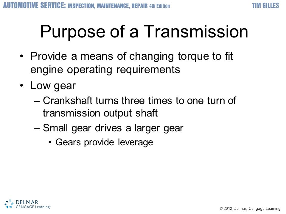 Purpose of a Transmission