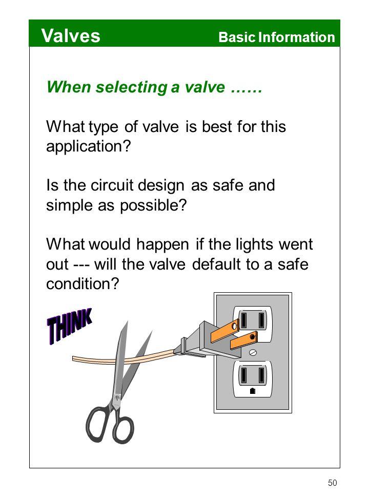 When selecting a valve ……