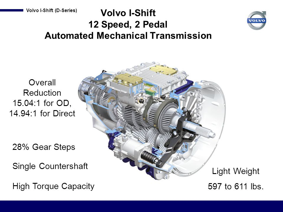 Volvo I-Shift 12 Speed, 2 Pedal Automated Mechanical Transmission
