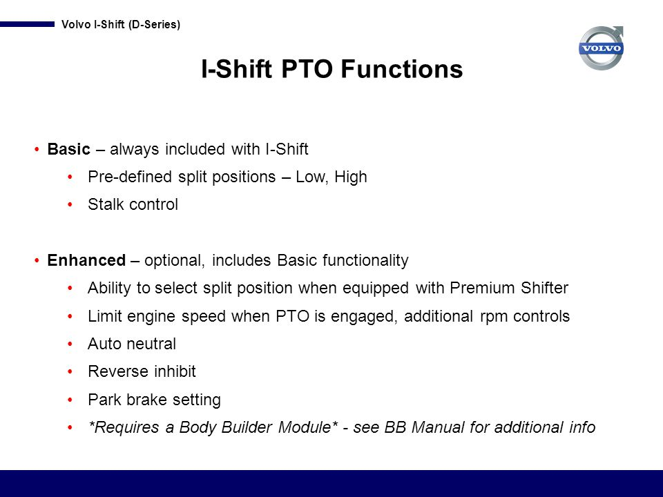 I-Shift PTO Functions Basic – always included with I-Shift