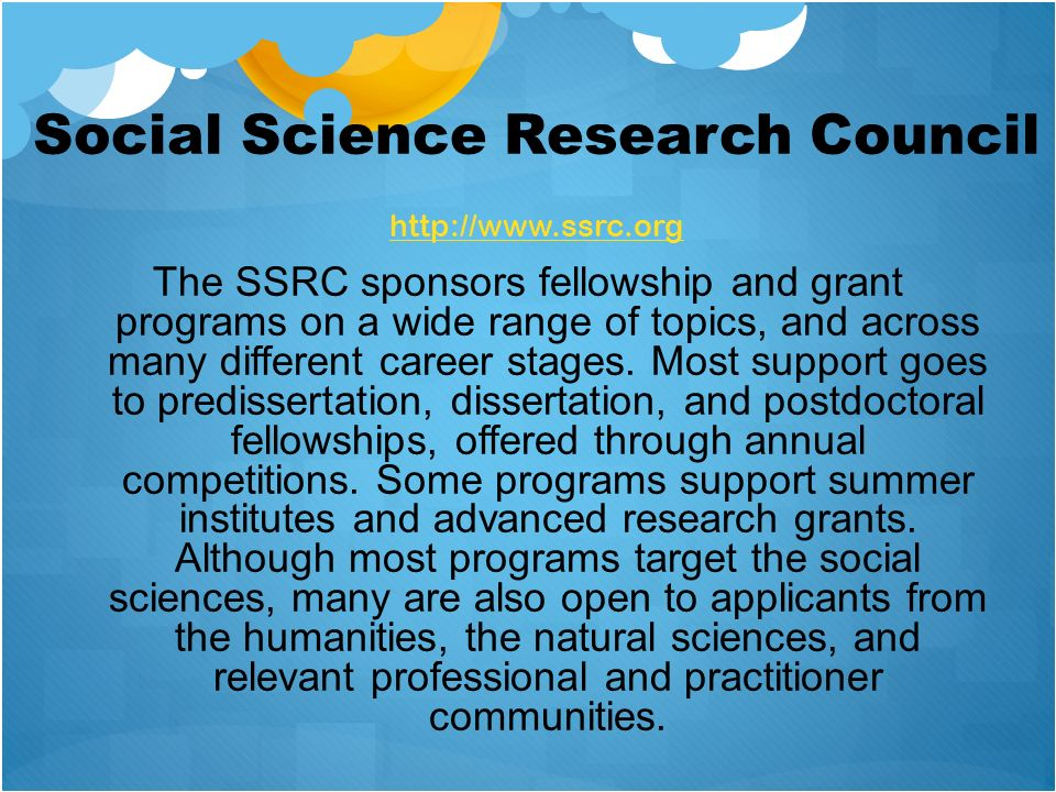 Social Science Research Council http://www.ssrc.org