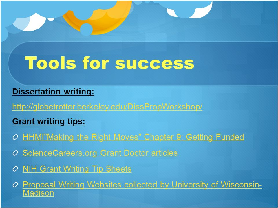 Tools for success Dissertation writing: