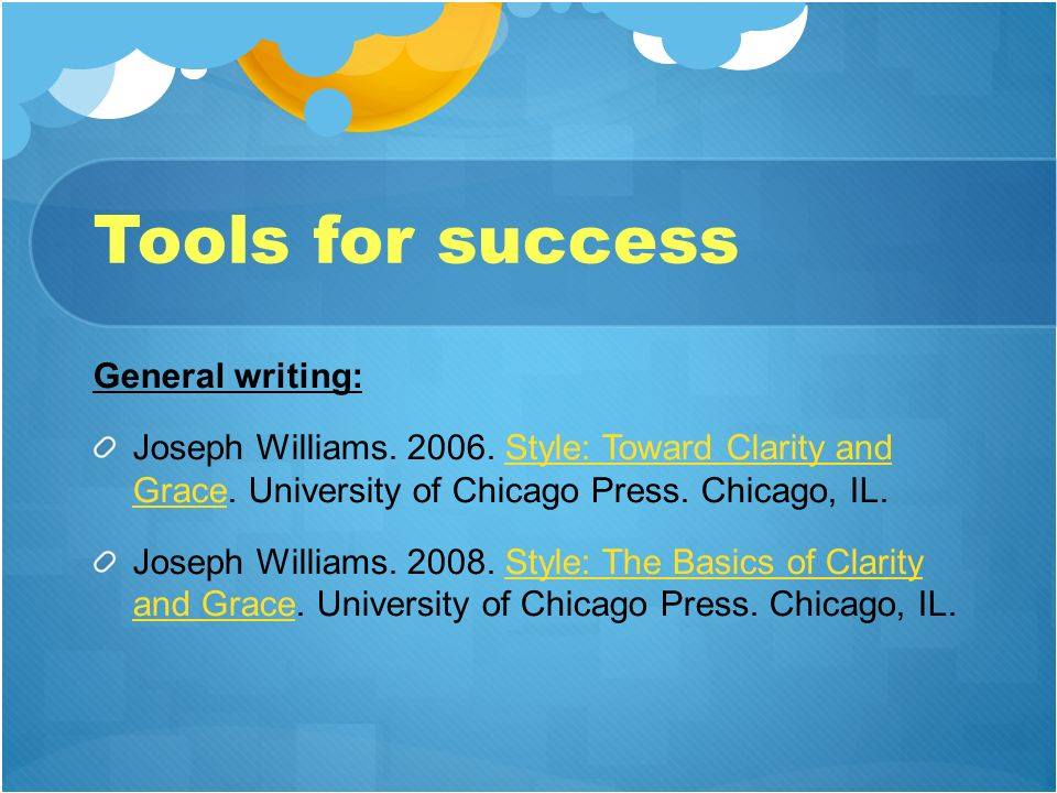 Tools for success General writing: