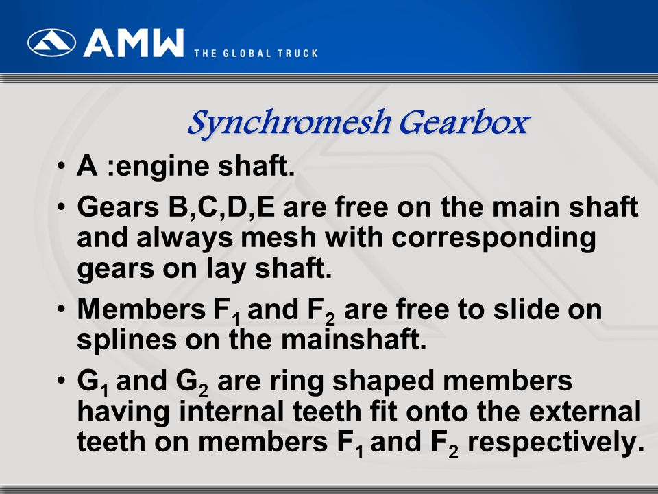 Synchromesh Gearbox A :engine shaft.