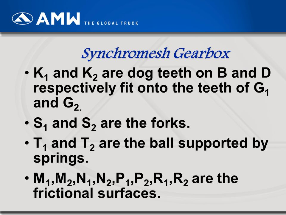 Synchromesh Gearbox K1 and K2 are dog teeth on B and D respectively fit onto the teeth of G1 and G2.