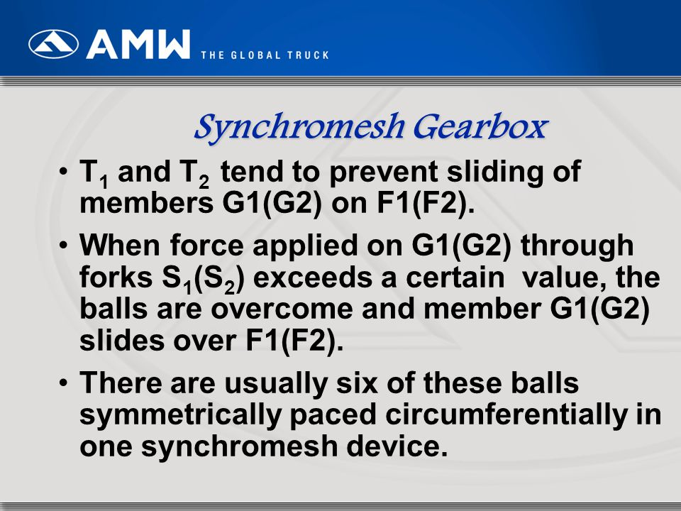 Synchromesh Gearbox T1 and T2 tend to prevent sliding of members G1(G2) on F1(F2).