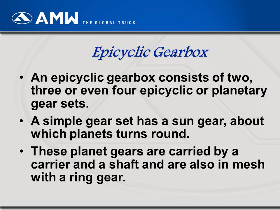 Epicyclic Gearbox An epicyclic gearbox consists of two, three or even four epicyclic or planetary gear sets.