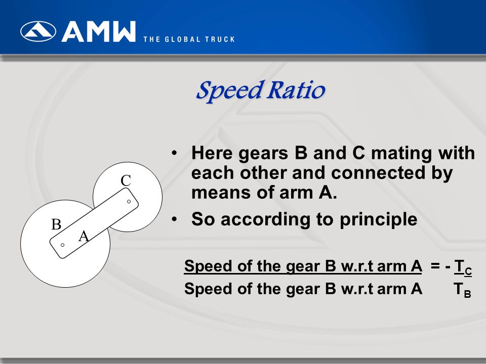 Speed Ratio Here gears B and C mating with each other and connected by means of arm A. So according to principle.