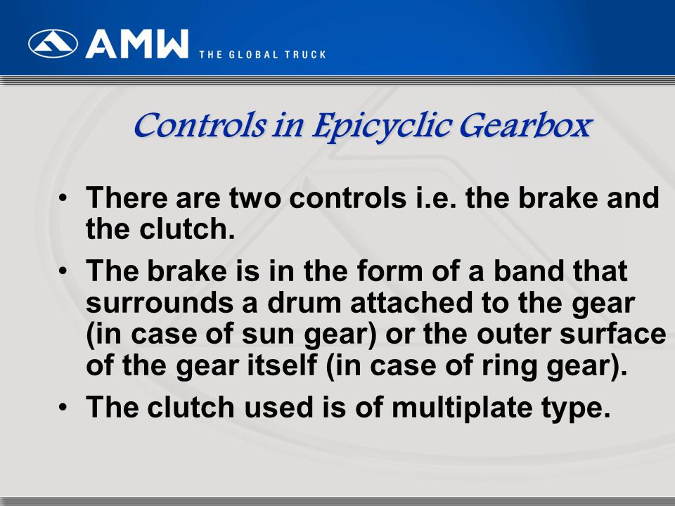 Controls in Epicyclic Gearbox