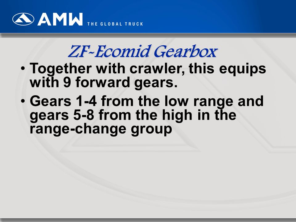 ZF-Ecomid Gearbox Together with crawler, this equips with 9 forward gears.
