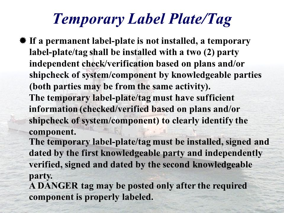 Temporary Label Plate/Tag
