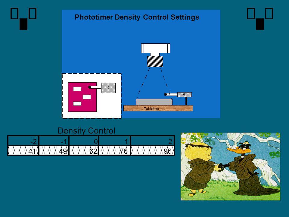 Density Control Phototimer Density Control Settings -2 -1 1 2 41 49 62