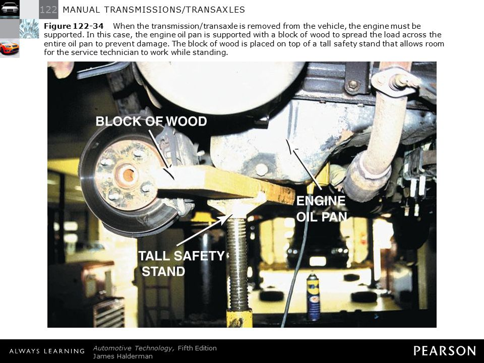 Figure 122-34 When the transmission/transaxle is removed from the vehicle, the engine must be supported. In this case, the engine oil pan is supported with a block of wood to spread the load across the entire oil pan to prevent damage. The block of wood is placed on top of a tall safety stand that allows room for the service technician to work while standing.