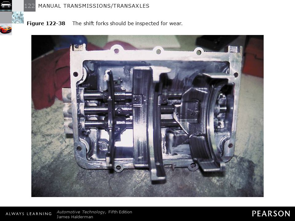 Figure 122-38 The shift forks should be inspected for wear.