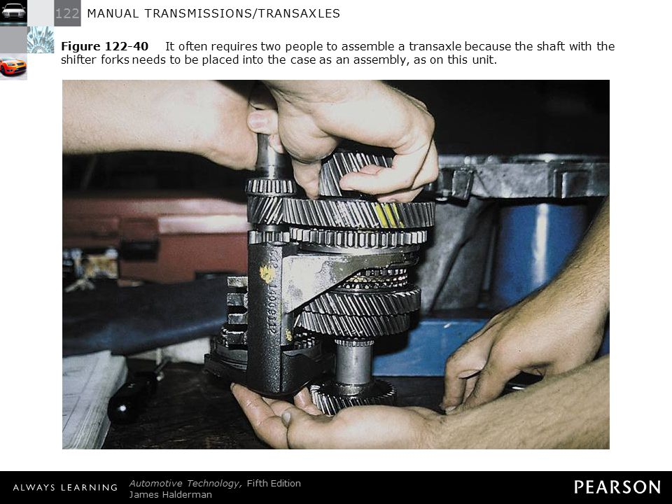 Figure 122-40 It often requires two people to assemble a transaxle because the shaft with the shifter forks needs to be placed into the case as an assembly, as on this unit.