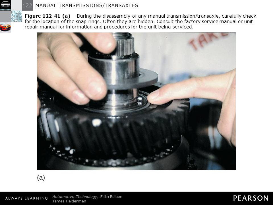 Figure 122-41 (a) During the disassembly of any manual transmission/transaxle, carefully check for the location of the snap rings. Often they are hidden. Consult the factory service manual or unit repair manual for information and procedures for the unit being serviced.