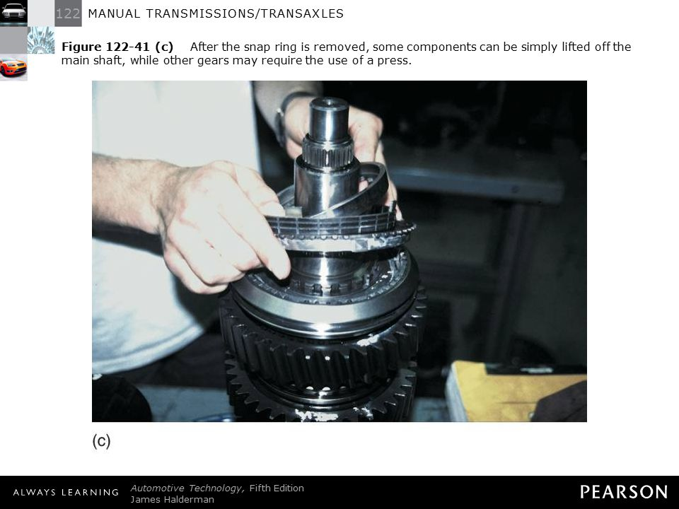 Figure 122-41 (c) After the snap ring is removed, some components can be simply lifted off the main shaft, while other gears may require the use of a press.