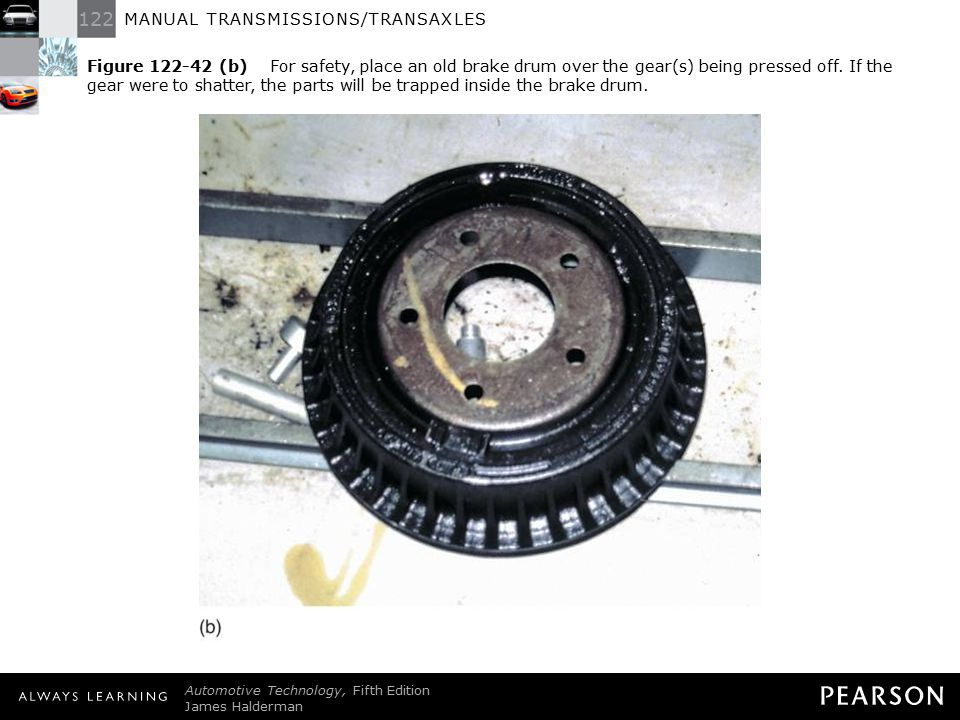 Figure 122-42 (b) For safety, place an old brake drum over the gear(s) being pressed off. If the gear were to shatter, the parts will be trapped inside the brake drum.