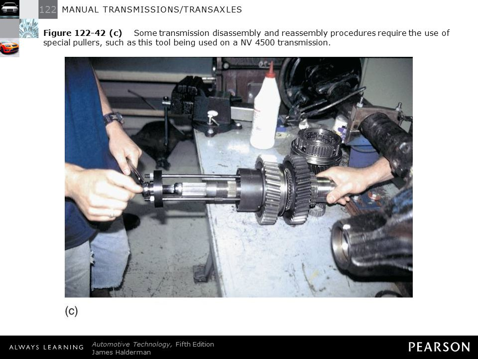 Figure 122-42 (c) Some transmission disassembly and reassembly procedures require the use of special pullers, such as this tool being used on a NV 4500 transmission.