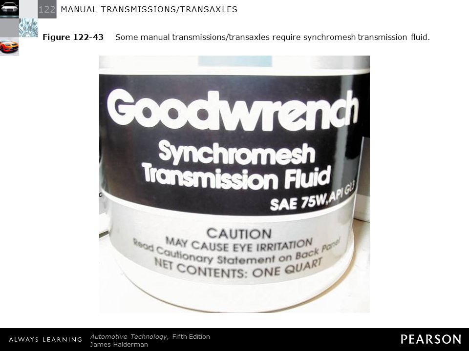 Figure 122-43 Some manual transmissions/transaxles require synchromesh transmission fluid.