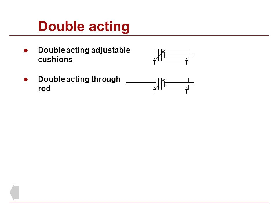 Double acting Double acting adjustable cushions
