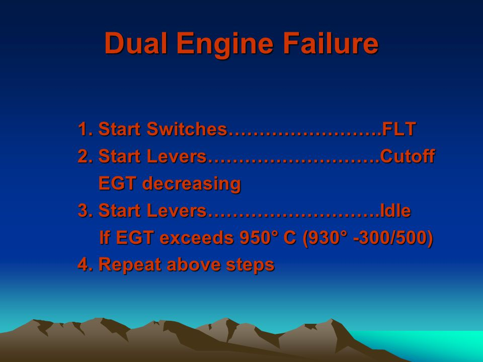 Dual Engine Failure 1. Start Switches…………………….FLT