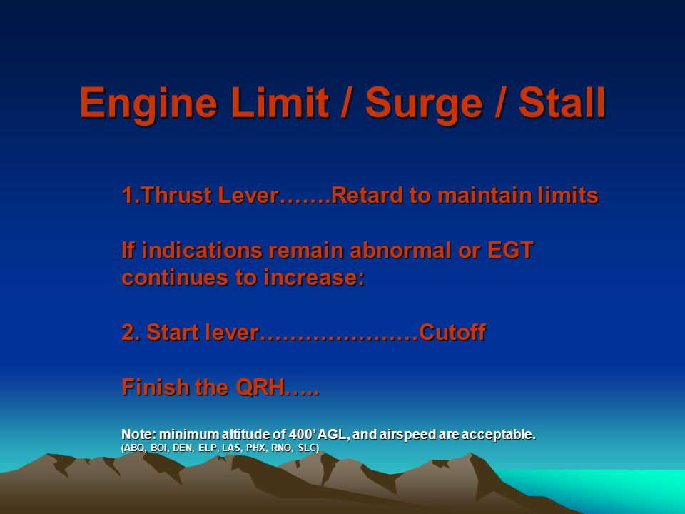 Engine Limit / Surge / Stall