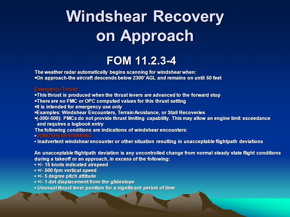 Windshear Recovery on Approach