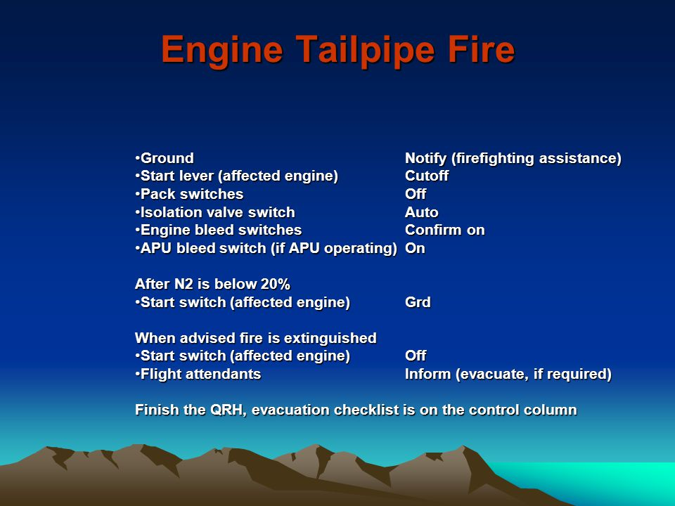 Engine Tailpipe Fire Ground Notify (firefighting assistance)