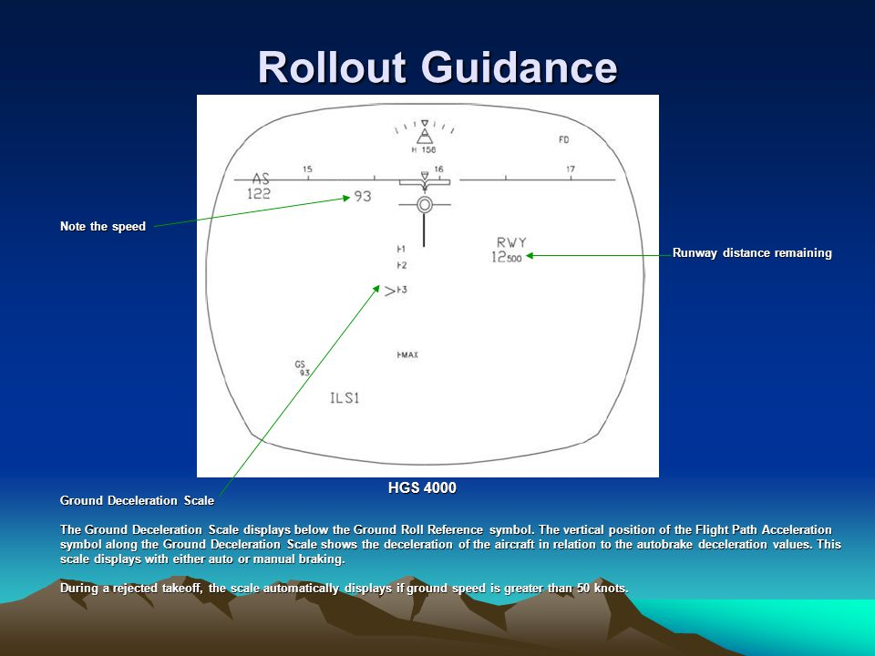 Rollout Guidance HGS 4000 Note the speed Runway distance remaining