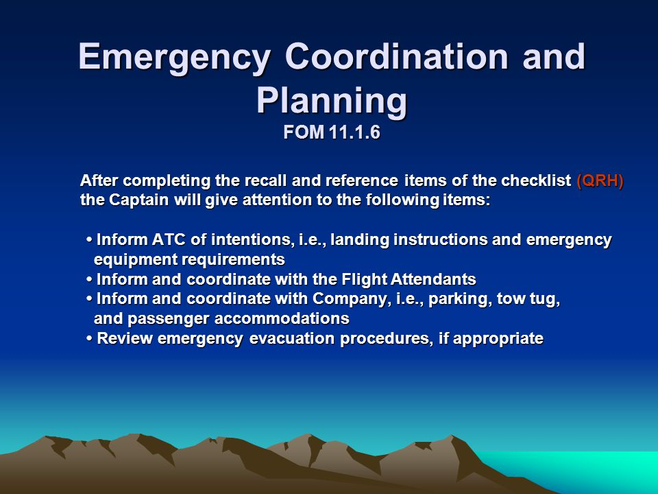 Emergency Coordination and Planning FOM 11.1.6