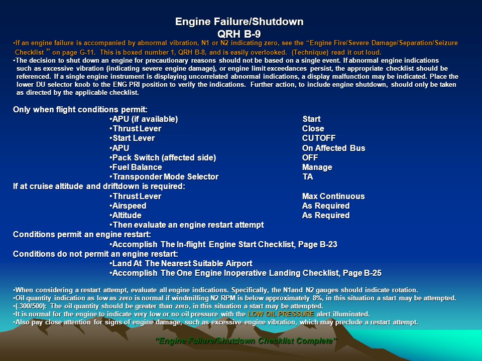 Engine Failure/Shutdown
