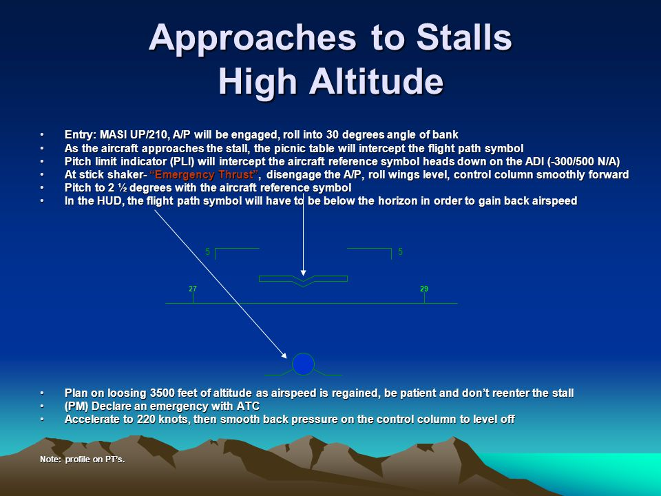 Approaches to Stalls High Altitude