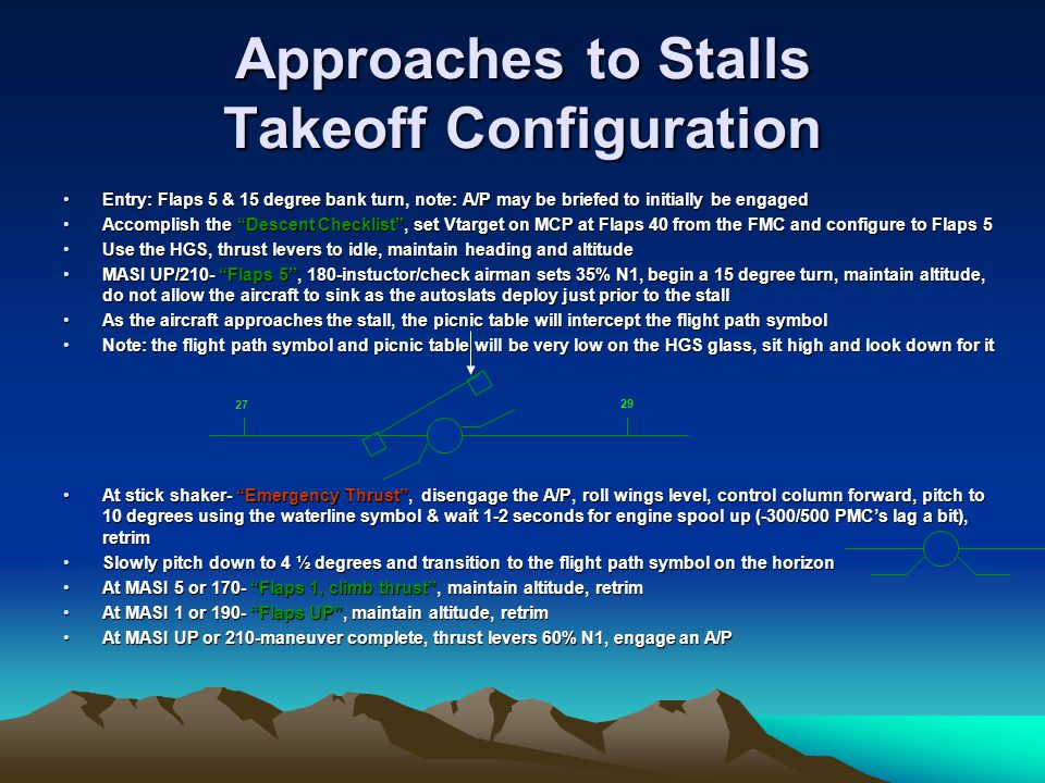 Approaches to Stalls Takeoff Configuration