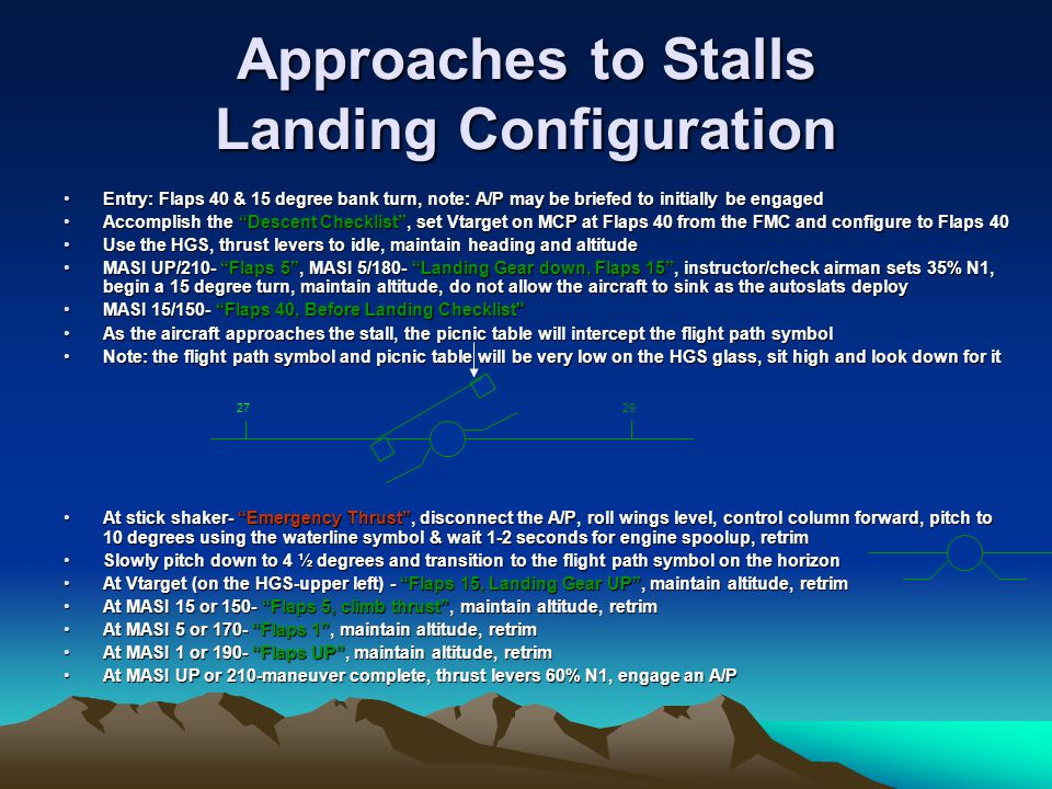 Approaches to Stalls Landing Configuration