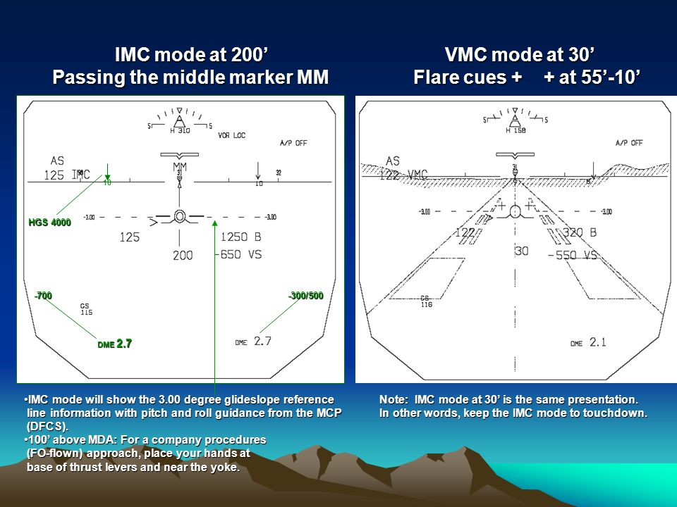 Passing the middle marker MM VMC mode at 30' Flare cues + + at 55'-10'