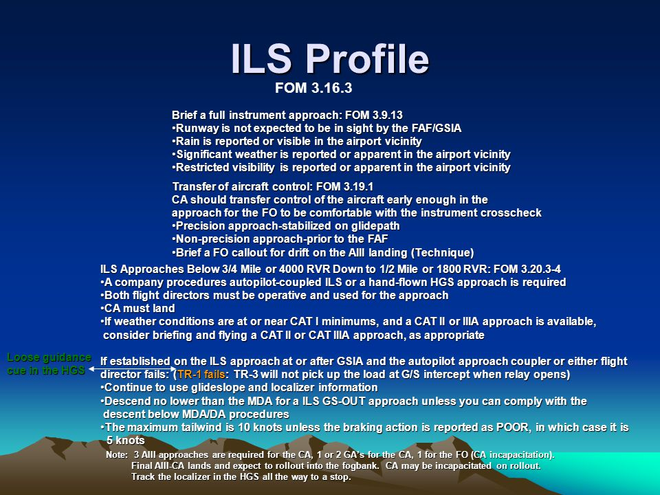 ILS Profile Brief a full instrument approach: FOM 3.9.13