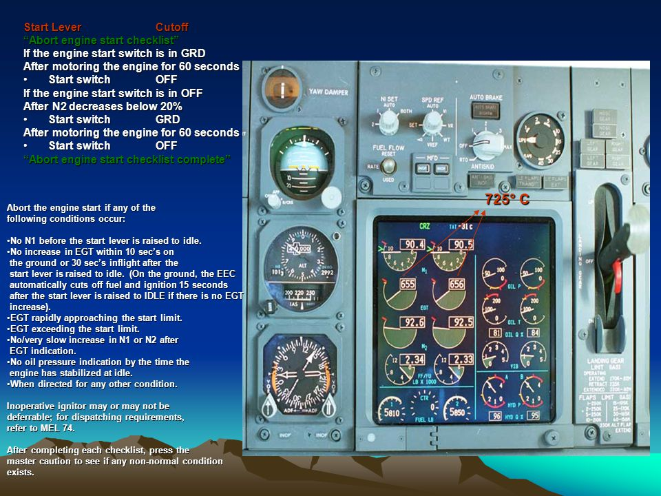 725° C Start Lever Cutoff Abort engine start checklist
