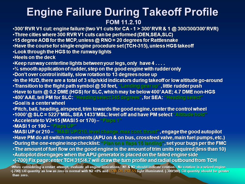 Engine Failure During Takeoff Profile FOM 11.2.10
